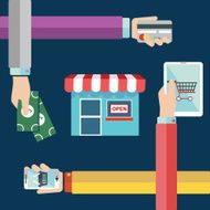 Shopping concept of hands online and cash purchase