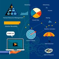 Flat Icons Analytics Business Strategy Concept
