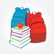 Red and blue Backpack stack of books N2