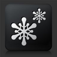 Black Square Button with Snowflakes