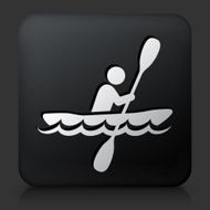 Black Square Button with Paddleboat Icon