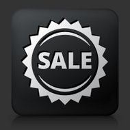 Black Square Button with Sale Icon N2