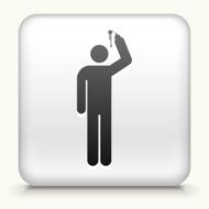 White Square Button with Person Using Spray Can