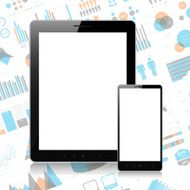 Tablet pc and mobile phone on infographic background