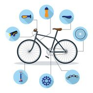 Bicycle and Parts Objects Flat Icons Infographic