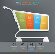Shopping cart info graphic design clean vector