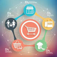 Shopping info graphic design on blur background vector N2