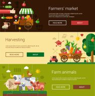 Set of modern flat design farm and agriculture icons elements N2