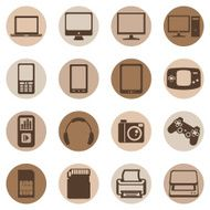 Vector Set of Digital Devices Icons N4