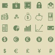 vector set of 25 green finance icons