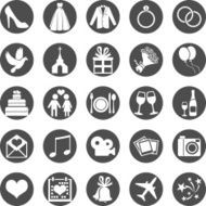 Vector Set of Color Wedding Icons N2