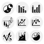 Black finance statistics icons