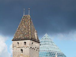 pyramidal roof of a tower