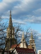 spires of ulm cathedral at sky in winter, germany, munich