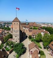 Panorama of a medieval castle in Nuremberg