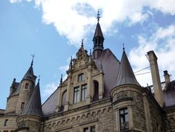 towers of Scrotum Castle at sky, poland, Moszna