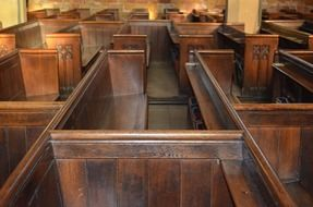 wooden benches in a church