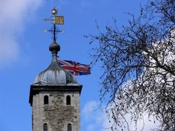 Union jack flag on a tower