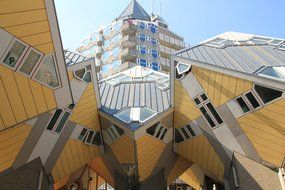 cube houses on stilts in Rotterdam