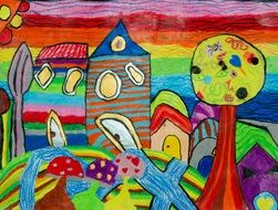 bright colored houses in garden, children drawing