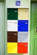 Multicolored mailboxes