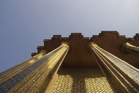 low angle view of golden temple, detail, thailand, bangkok