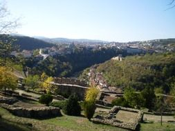 panoramic view of a medieval fortress on a sunny day
