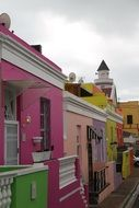 brightly coloured homes and cobble stoned street of bo-kaap