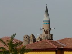 distant view of a minaret in a Turkish mosque
