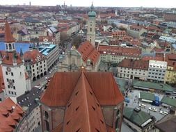 roof view of historical city, germany, bavaria, munich