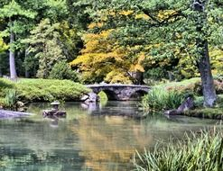 Over water bridge in a japanese garden