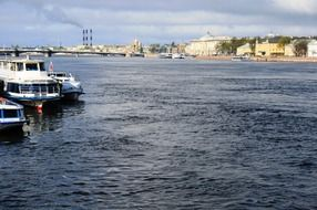 panoramic view of boats on the neva river