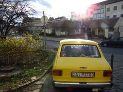 yellow retro car