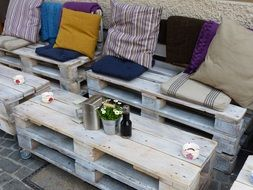 rustic wooden furniture of outdoor cafe