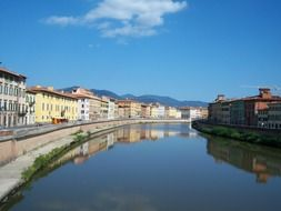 City panorama of the river in Tuscany
