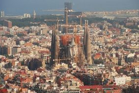 panoramic view of the cathedral in barcelona architecture