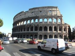 Famous colosseum building in Rome Italy