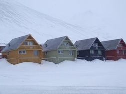 houses of different colors in snowdrifts