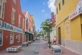 colorful tropical town street, curacao, willemstad