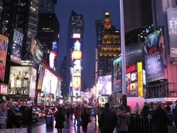 night lights at Times Square in Manhattan County, New York