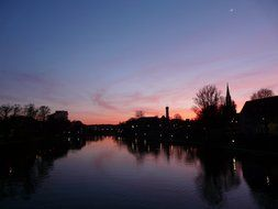 panoramic view of the river in pink twilight