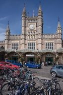 taxi and bicycles in front of Bristol Temple Meads Train Station, uk, england