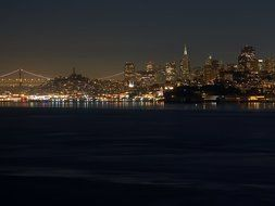 distant view of the night san francisco