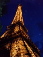night view illuminated Eiffel Tower