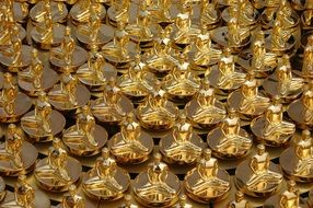 Many golden Thai statues