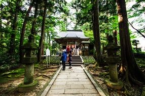 a mysterious temple in the forest in Japan