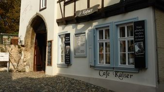 old cafe facade, germany, quedlinburg