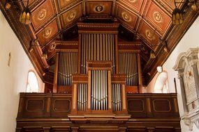 organ pipes in an old cathedral