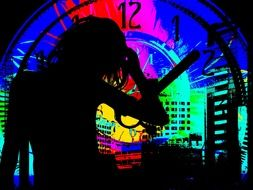 silhouette of a girl on the background of multi-colored neon clocks