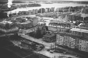 old black and white photo of a city in finland